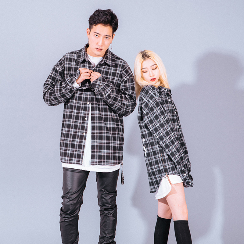 [A.Clown]Side-Tag Zipper Flannel Shirts