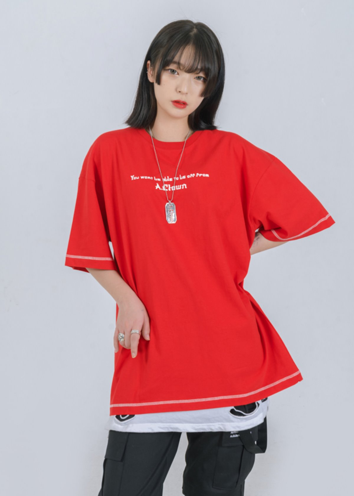 Rose-Eye Logo Stitch Half-Tee RED