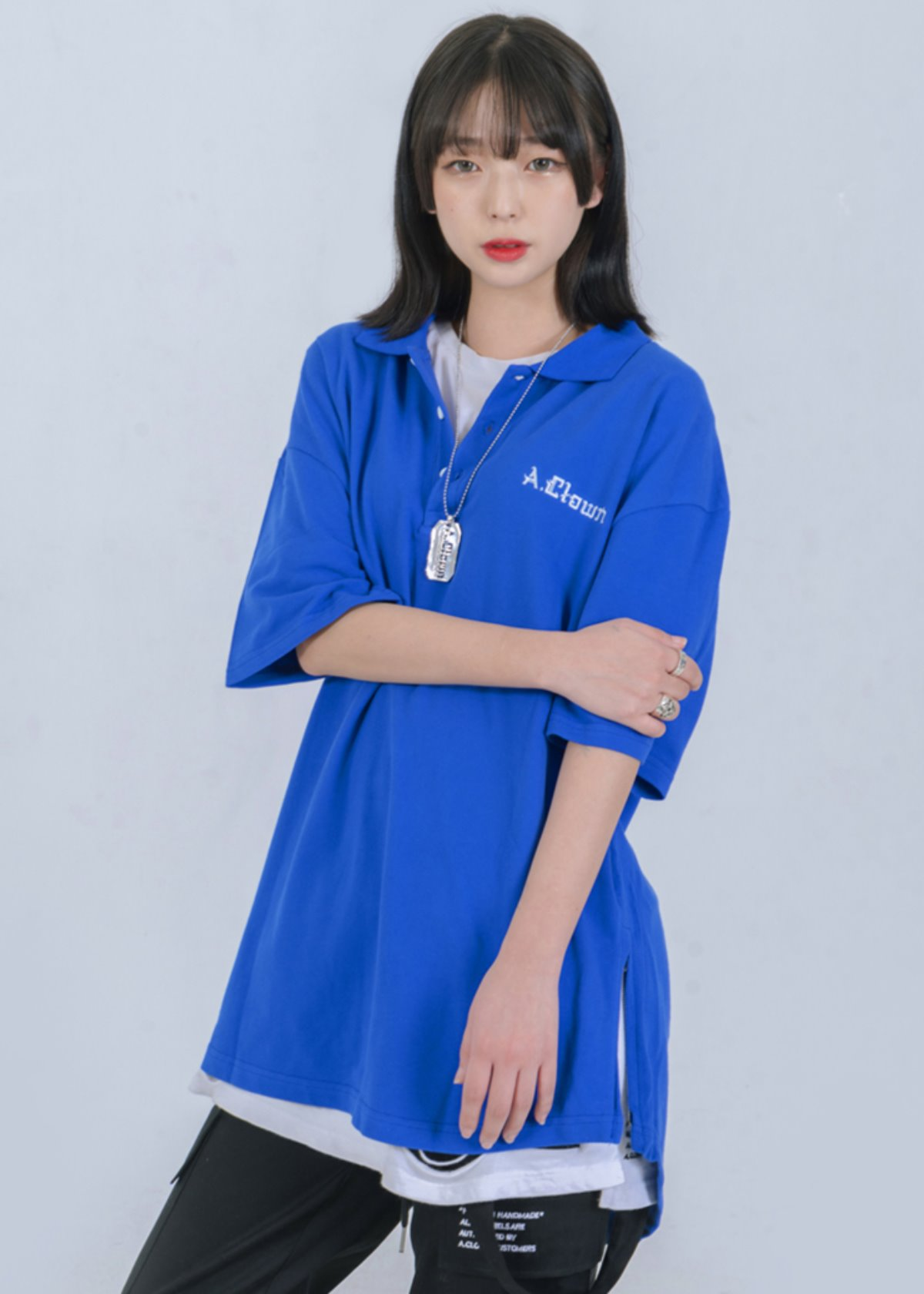Shirts-fit Side-Zipper PK Half-Tee BLUE