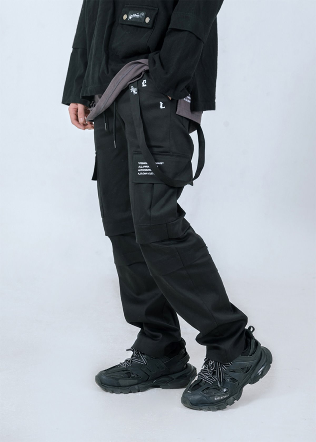 Strap-Chain Double Layered Cargo Pants(Workwear Ver.)