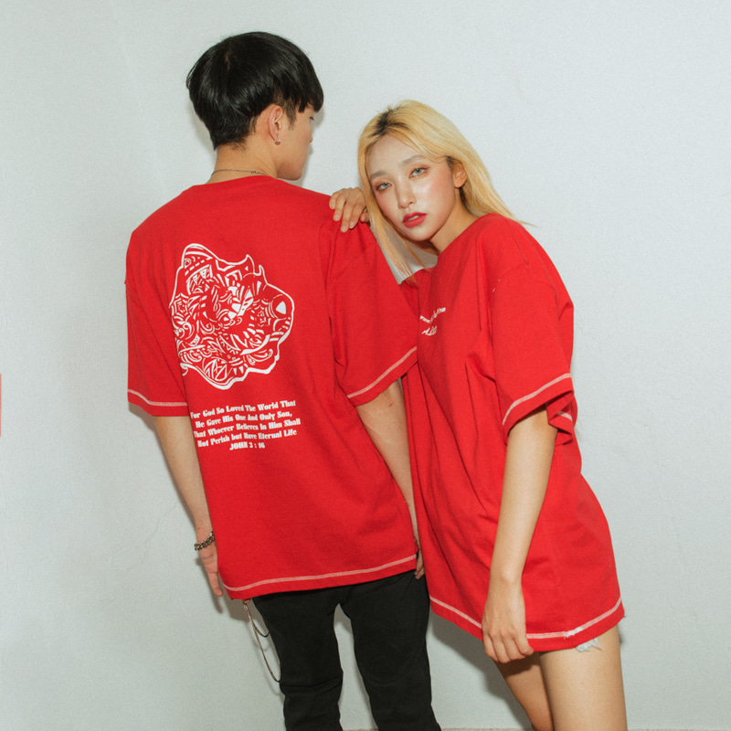 [A.Clown]Red Rose-Eye Stitch Half-Tee