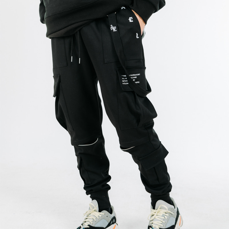 Strap-Chain Zipper Cargo Pants(조거버젼)
