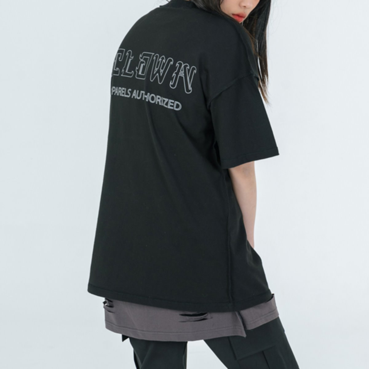 Reversed 3M Reflective Scotch Pocket Half-Tee BLACK