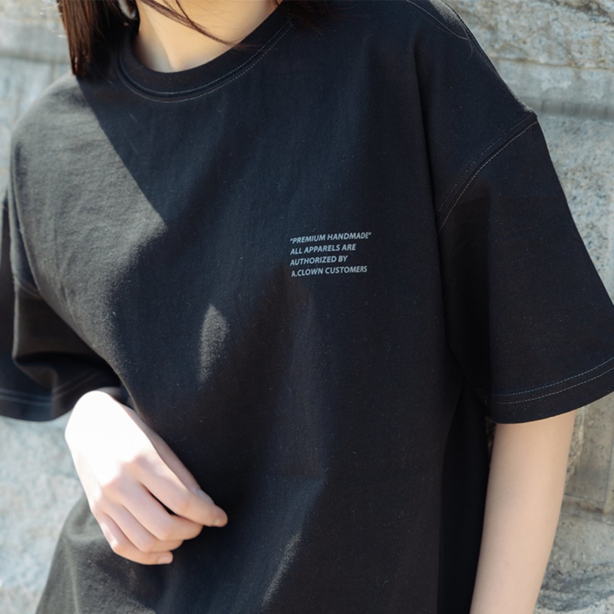 Semi-Tone Stitch Half-Tee BLACK(블랙)(그레이톤 스티치)
