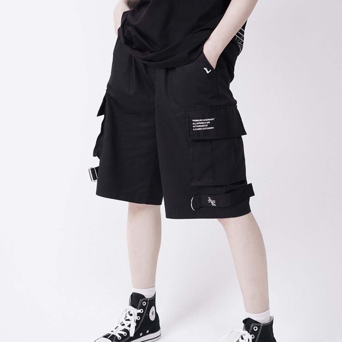 OD Strap Wide Cargo Short-Pants BLACK