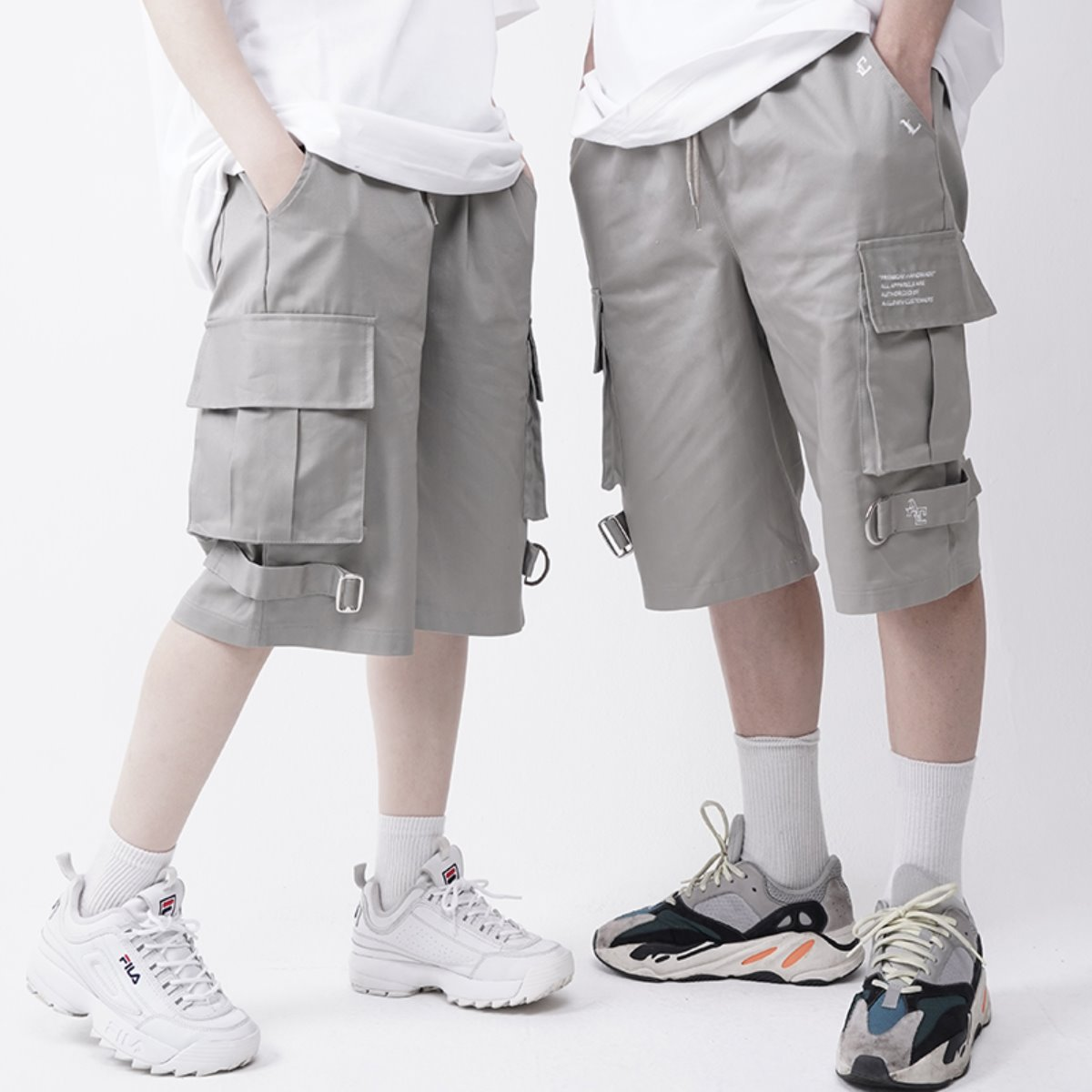 OD Strap Wide Cargo Short-Pants GREY KHAKI