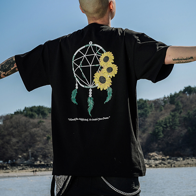 DREAM CATCHER SUN HALF-TEE_BLACK