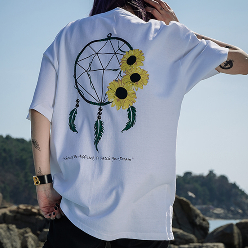 DREAM CATCHER SUN HALF-TEE_WHITE