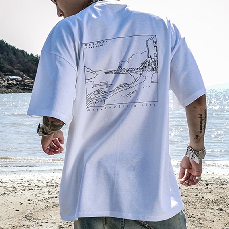 BATHING FRAME HALF-TEE_WHITE